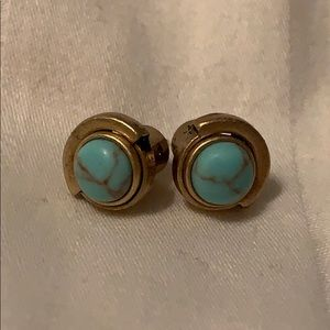 Turquoise Stud Earrings, Antique gold plating
